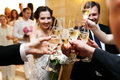 Happy Newlywed Bride And Groom At Wedding Reception Eating And D Stock Image - 67003321