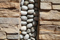 The Stone Walls Are Decorated With Cobblestones Stock Image - 67010811