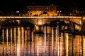 Tiber River, Bridge And Reflections On Water. Night Rome, Italy. Royalty Free Stock Photography - 67017727