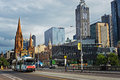 View Of Federation Square And St Paul S Cathedral, Melbourne, Au Stock Image - 67025851