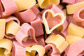 Red And Yellow Heart Shaped Pasta, Top View, Food Background, Cl Stock Photos - 67030973