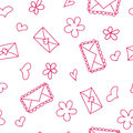 Doodle Seamless Pattern With Hearts And Envelops Stock Photos - 67042263
