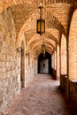 Castle Winery Brick Arched Hallway Royalty Free Stock Images - 67048929