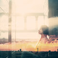 Double Exposure Portrait Of Young Woman Stock Images - 67060944