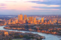London Canary Wharf Business District Cityscape At Sunset Stock Image - 67063151