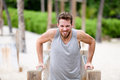 Fitness Man Doing Dips At Outdoor Gym Workout Royalty Free Stock Photography - 67067337