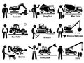 Construction Vehicles Transportation And Worker Set Clipart Royalty Free Stock Photos - 67069878