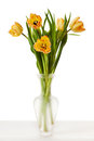 Tulips Yellow Red Orange Tulip Flowers In Vase Royalty Free Stock Photo - 67072625
