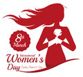 Woman Holding A Rose With Her Hands In Women S Day Commemoration, Vector Illustration Royalty Free Stock Image - 67103696