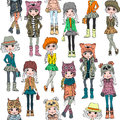 Vector Seamless Pattern With Cute Hipster Girl Stock Images - 67112014