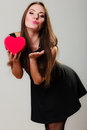 Lovely Woman With Red Heart Shaped Gift Box Stock Photos - 67126163