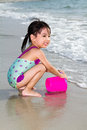 Asian Little Chinese Girl Playing Sand With Beach Toys Royalty Free Stock Photos - 67135218