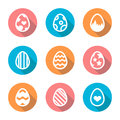 Easter Egg Icon Set In A Flat Design With Long Shadow  Stock Photo - 67138060