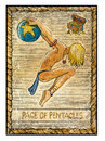 Old Tarot Cards. Full Deck. Page Of Pentacles Royalty Free Stock Photos - 67139708