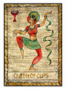 Old Tarot Cards. Full Deck. Queen Of Cups Stock Image - 67139811