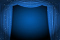 Open Blue Curtains Background With Glittering Stars Royalty Free Stock Photos - 67141418