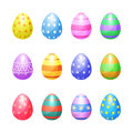 Set Of Color Easter Eggs Vector Icons. Easter Eggs Royalty Free Stock Photo - 67142215