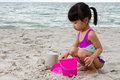 Asian Little Chinese Girl Playing Sand With Beach Toys Royalty Free Stock Image - 67146636
