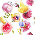Seamless Pattern With Watercolor Perfumes Stock Image - 67152471