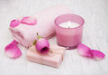 Bath Towels, Candle And Soap With Pink Roses Stock Photography - 67153232
