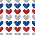 Background With Hearts Of Red, Blue And Silver Glitter, Seamless Pattern Royalty Free Stock Images - 67165849