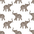 Seamless Pattern With Nice Abstract Elephants Of Glitter. Their Trunks Raised Up - Good Luck Symbol Royalty Free Stock Photography - 67166317