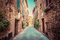 Narrow Street In An Old Italian Town Of Pienza. Tuscany, Italy. Vintage Royalty Free Stock Images - 67166449
