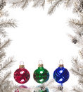 Silver Christmas Frame With Colorful Baubles Royalty Free Stock Photos - 6725898