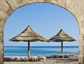 Relaxing Facilities At Sandy Beach Of Eilat Stock Images - 67213494