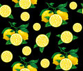 Great Illustration Of Beautiful Yellow Lemon Fruits On A Black Background. Water Color Drawing Of Lemon. Seamless Pattern Royalty Free Stock Photo - 67215105