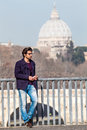 Holiday In Rome, Italy. Handsome Young Trendy On The Bridge. Stock Images - 67217714