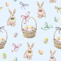 Rabbit With Easter Basket On A Blue Background. Color Easter Eggs. Watercolor Drawing. Handwork. Seamless Pattern Stock Image - 67225261