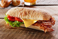 Sandwich With Fried Bacon Cheese Tomato Royalty Free Stock Images - 67225619