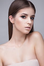 Beautiful Young Girl With A Light Natural Make-up. Beauty Face. Stock Photography - 67230012
