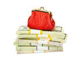 Red Purse And Money Royalty Free Stock Image - 67232486