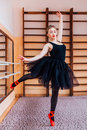 Young Smiling Ballerina Wearing Black Tutu Doing Exercise In Training  Hall Stock Image - 67257821