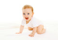 Happy Smiling Little Baby Crawls On White Background Stock Images - 67258614