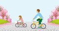 Cycling Anonymity Two Children -Cherry Trees - EPS10 Royalty Free Stock Photo - 67263825