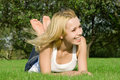 Woman Rest On The Green Summer Grass Stock Photo - 6736490