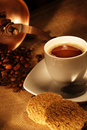 Coffee Cup With Fresh Beans And Cookies Royalty Free Stock Images - 6737009