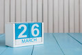 March 26th. Image Of March 26 Wooden Color Calendar On White Background.  Spring Day, Empty Space For Text. Purple DAy Stock Photography - 67310292