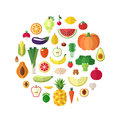Vegetables, Fruits And Nuts Food Vector Circle Background. Flat Design. Stock Image - 67324321