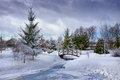Snowy Little Bridge Over Pond Stock Photography - 67342002
