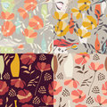 Collection Of Four Vector Seamless Patterns With Floral Elements Stock Photography - 67342672