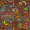 Seamless Hand-drawn Coffee  Seamless Pattern.  Coffee Pattern With Lettering. Colorful Coffee Pattern Vector Background Royalty Free Stock Photography - 67349567