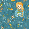 Fabric Pattern With Young Girl And Bird.Blue And Yellow Stock Photography - 67356862