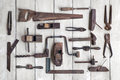 Collection Of Antique Woodworking Tools On Wooden Table Royalty Free Stock Photos - 67360248