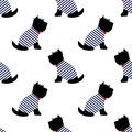 Scottish Terrier In A Sailor T-shirt Seamless Pattern. Sitting Dogs On White Background Illustration. Stock Photography - 67387882
