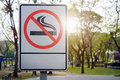 Label No Smoking Metal Sign In The Park Royalty Free Stock Image - 67399926