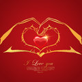 Happy Valentine S Day Love Greeting Card  With Red Heart In Hand Stock Photo - 67399970